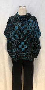 Blue Print Poncho Top