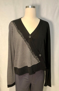 Stripe Grey & Black Button Cardigan