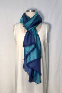 Two Tone Raw Silk Scarf