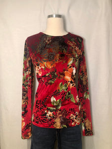 Burnout Velvet Floral Blouse