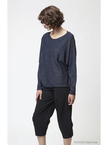 Black-Blue Wide Neck Sweater