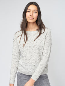 Tuck Stitch Pullover in Grey Speckle