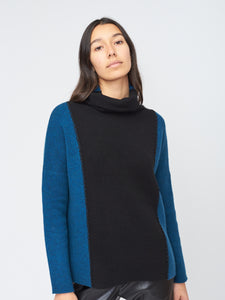 Cowl Neck Two Tone Sweater