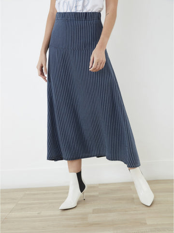 Last one! Indigo Stripe Tencel Skirt