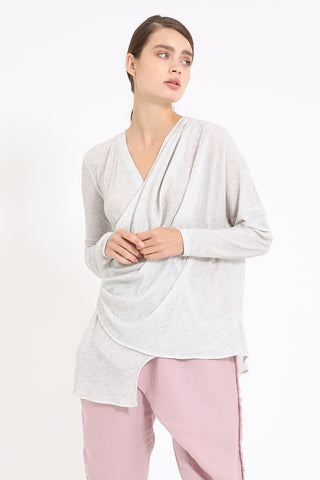 Heather Grey Wrap Style Knit Top