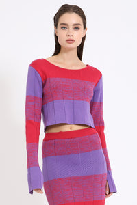 Wide Stripe Knit Cropped Sweater in Purple/Red