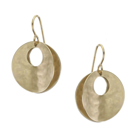 Back to Back Concave Cutout Discs Wire Earring
