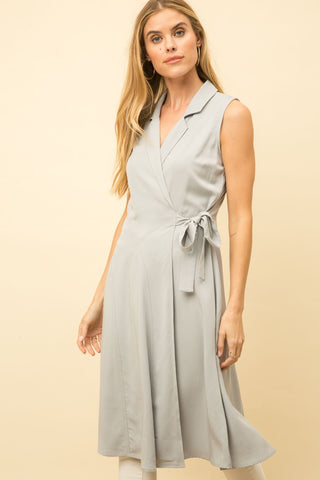 Wrap Sleeveless Shirt Dress