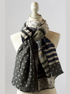"French Double-Woven Scarf - ""Coco Gris Bleu"""