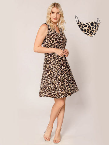 Leopard Swing Dress + Mask Set