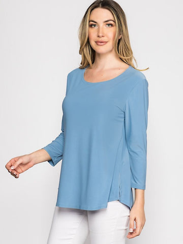 Blue Side Slit Top