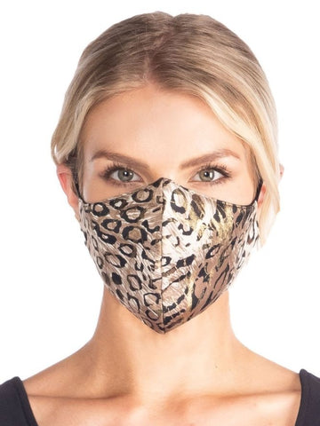 Cheetah Gold Reversible Stretch Face Mask