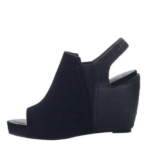 Columba Black Wedge Sandals