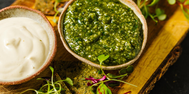 Beyond Green Crackers with Vibrant Dips