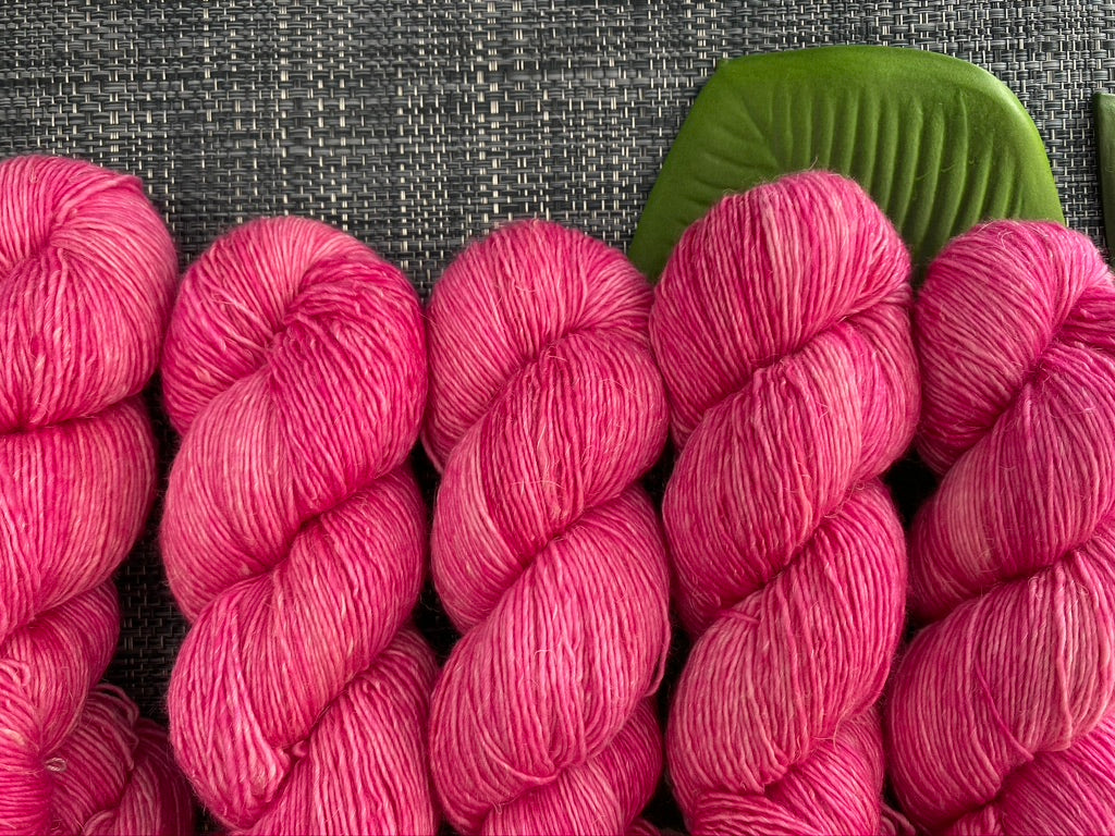 Merino linen singles - 'Pink Rock Orchid' colourway