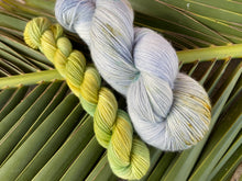 Load image into Gallery viewer, Delicious sock 'Forget me not' colourway Spring flower collection