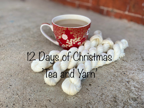 12 days of Christmas- Tea and Yarn: 12 minis hand dyed on Delicious sock yarn base