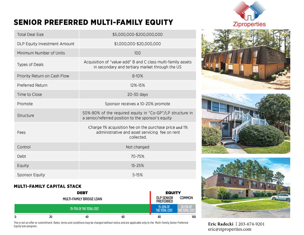 Preferred Equity Solution Provider Multifamily Florida - Ziproperties