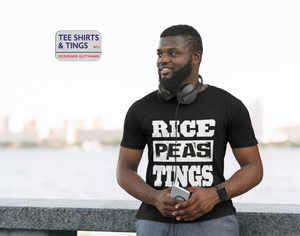Man wearing a black teeshirt with white wording saying Rice Peas Tings
