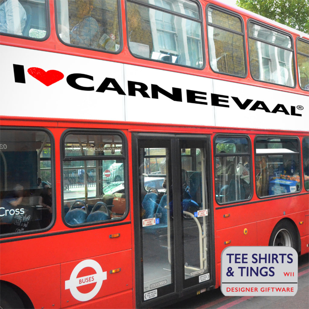 I ❤️ CARNEEVAAL®️  on the side of a London Red Bus