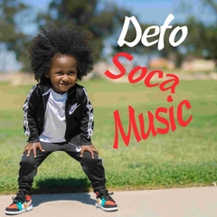 Little boy with Afro Hair stooping down with caption Defo Soca Music