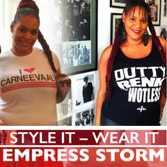 Artiste - Empress Storm wearing DRAW - Black 100% cotton tank top