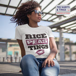 White 100% organic cotton crew-neck women's teeshirt with wording Rice-Peas-Tings and a lipstick mark underneath wording