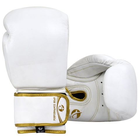 Pro Fight Gloves White/Gold (Genuine Leather) - PFGSports