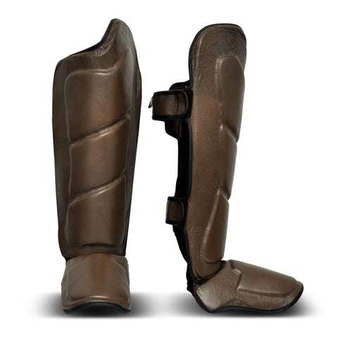Brown Vintage Genuine Leather Shin Instep - Boxing MMA Muay Thai Protection & Training
