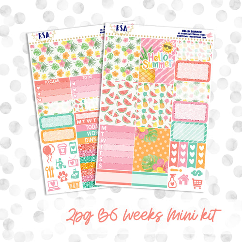 Hello Summer // B6 PP Weeks // 2pg Mini Kit