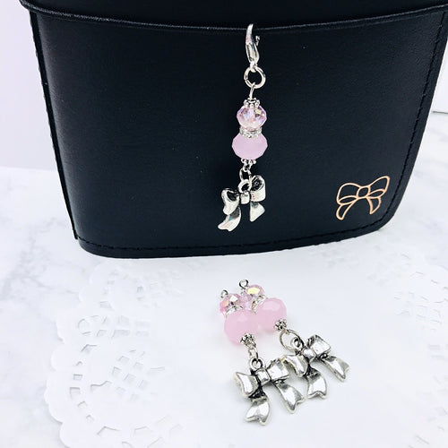 Bow & Pink Crystal Charm