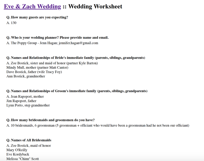 WEDDING WORKSHEET EXAMPLE