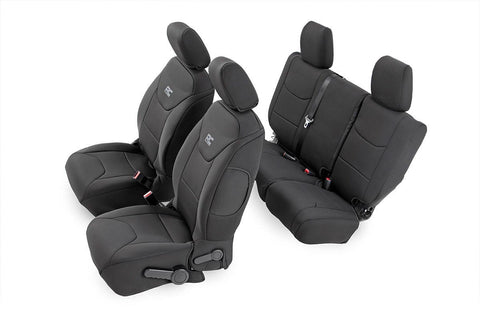 Jeep Neoprene Seat Cover Front & Rear Combo | Black [13-18 Wrangler JK Unlimited]
