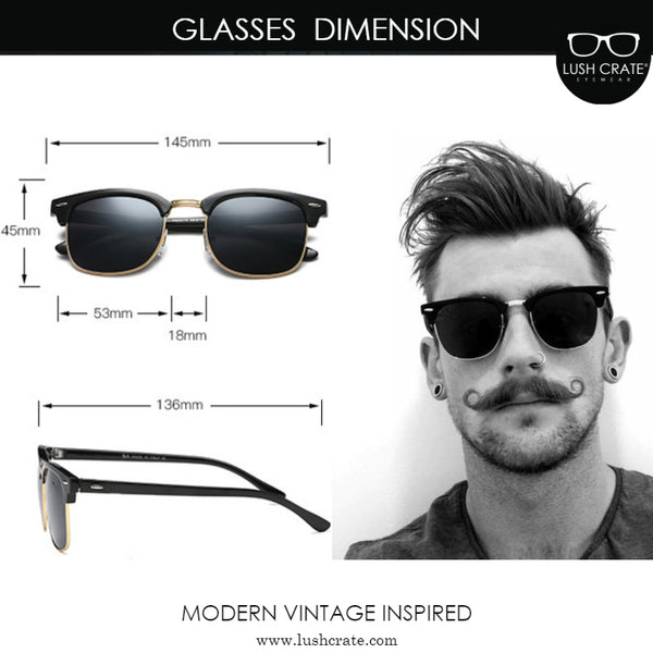 Girno Classic - Semi Rimless Vintage Sunglasses Dimension