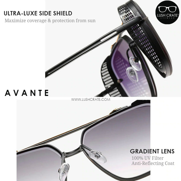 These Avante Navigators are now complemented by a double bridge in luxurious-finish metal and feature the signature netted spoilers that contrast with the lenses.