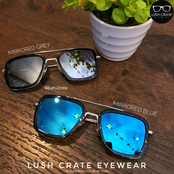 Mirrored Lens Blue Grey Reflective Lens EDITH Sunglasses