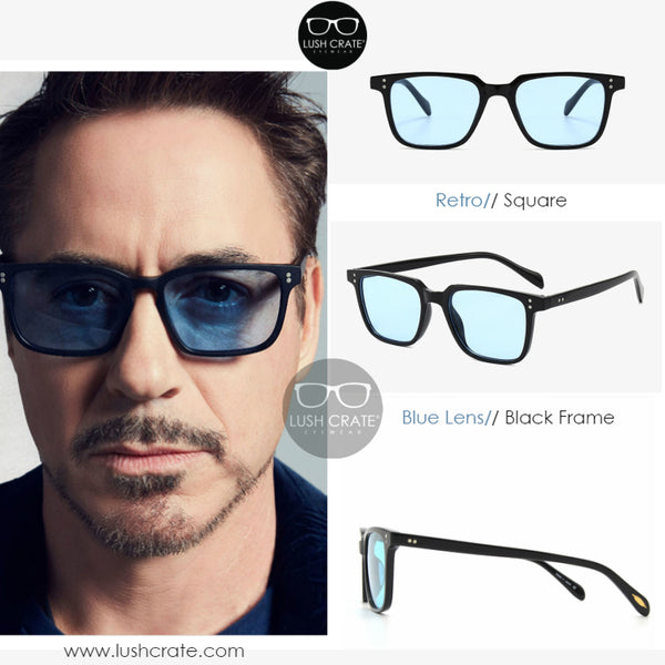 Iron Man Tony Stark Robert Downey Jr Blue Square Polarized Sunglasses