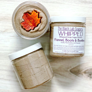WHIPPED - Sugar Scrub Soap - Flannel, Boots & Bonfires - The Black Lab Soapery
