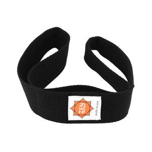 black colored zen yoga strap