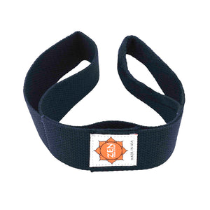 navy blue colored zen yoga strap