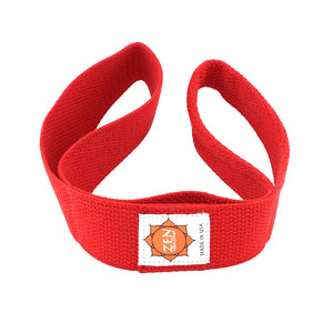 red colored zen yoga strap