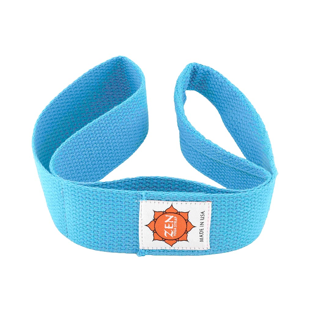 turquoise colored zen yoga strap