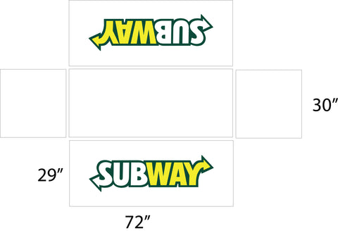 Subway 6' White Logo Table Top