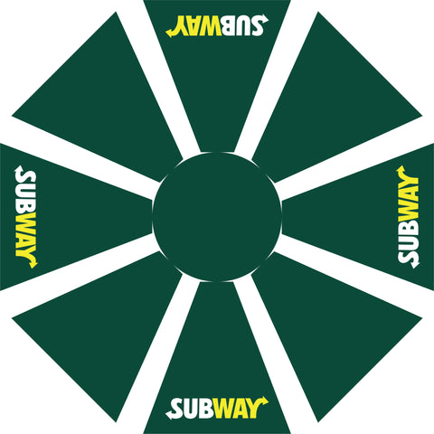 Subway 9' Green Octagon Logo Umbrella w/ 900 Denier Top