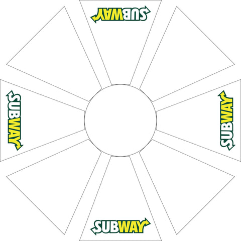 Subway 7.5' White Octagon Logo Umbrella w/ 900 Denier Top