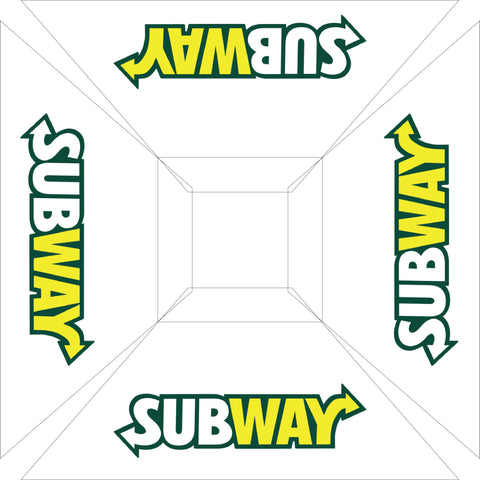 Subway 6' Sq' White Logo Umbrella w/ 900 Denier Top