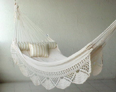 Nicamaka SINGLE Sprang-Woven Hammock - WHITE