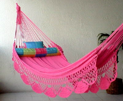 """Single"" PINK Sprang-Woven Nicamaka® Hammock"
