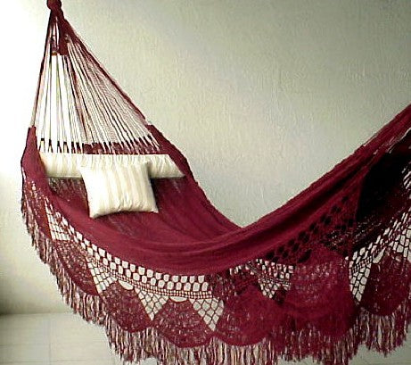 FAMILY HAMMOCK - Large Sprang-Woven Nicamaka - BURGUNDY
