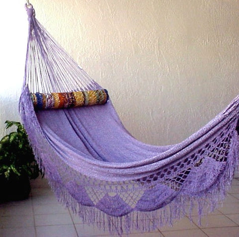 """Family"" LILAC (Purple & White) Largest Sprang-Woven Nicamaka® Hammock"